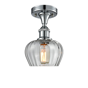 Fenton Polished Chrome LED Semi Flush Mount with Clear Fluted Sphere Glass