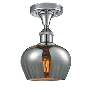 Fenton Polished Chrome One-Light Semi Flush Mount with Smoked Fluted Sphere Glass