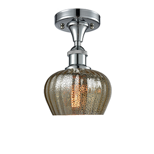Fenton Polished Chrome LED Semi Flush Mount with Mercury Fluted Sphere Glass