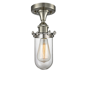Bleecker Brushed Satin Nickel One-Light Semi Flush Mount with Clear Globe Glass