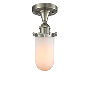 Kingsbury Brushed Satin Nickel One-Light Semi Flush Mount with Matte White Cased Globe Glass