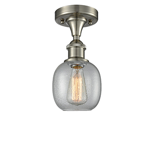 Belfast Brushed Satin Nickel One-Light Semi Flush Mount with Clear Seedy Sphere Glass