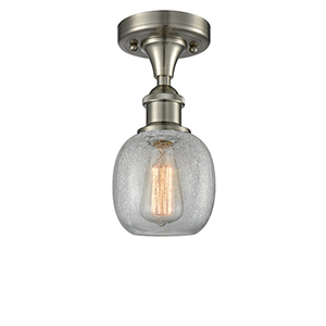 Belfast Brushed Satin Nickel One-Light Semi Flush Mount with Clear Crackle Sphere Glass