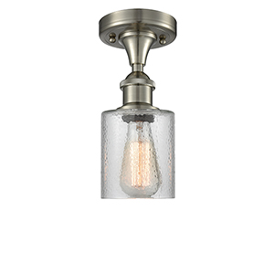 Cobbleskill Brushed Satin Nickel One-Light Semi Flush Mount with Clear Ripple Drum Glass
