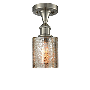 Cobbleskill Brushed Satin Nickel One-Light Semi Flush Mount with Mercury Drum Glass