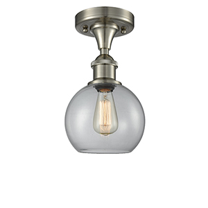 Athens Brushed Satin Nickel One-Light Semi Flush Mount with Clear Globe Sphere Glass