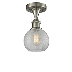 Athens Brushed Satin Nickel One-Light Semi Flush Mount with Clear Crackle Globe Sphere Glass