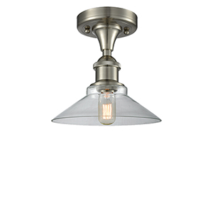 Disc Brushed Satin Nickel LED Semi Flush Mount with Clear Cone Glass