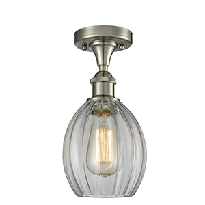 Eaton Brushed Satin Nickel One-Light Semi Flush Mount with Clear Fluted Sphere Glass