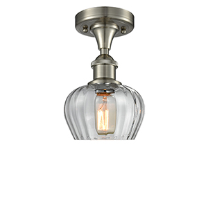 Fenton Brushed Satin Nickel One-Light Semi Flush Mount with Clear Fluted Sphere Glass