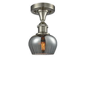 Fenton Brushed Satin Nickel One-Light Semi Flush Mount with Smoked Fluted Sphere Glass
