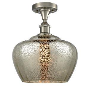 Large Fenton Brushed Satin Nickel LED Flush Mount with Mercury Glass