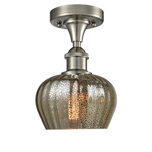 Fenton Brushed Satin Nickel One-Light Semi Flush Mount with Mercury Fluted Sphere Glass