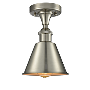 Smithfield Brushed Satin Nickel One-Light Semi Flush Mount