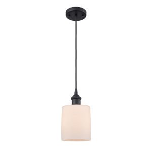 Cobbleskill Matte Black One-Light Mini Pendant with Matte White Ripple Glass