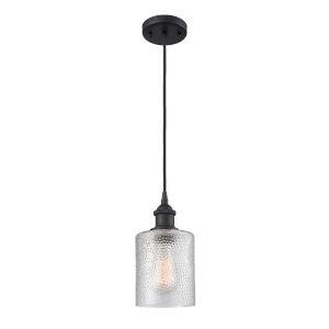 Cobbleskill Matte Black One-Light Mini Pendant with Clear Ripple Glass