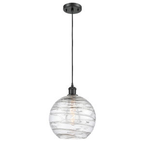 Ballston Matte Black 10-Inch LED Pendant with Clear Large Deco Swirl Shade and Brown Cord