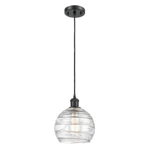 Ballston Matte Black Eight-Inch LED Mini Pendant with Clear Deco Swirl Shade and Brown Cord