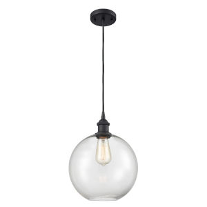 Ballston Matte Black 10-Inch One-Light Pendant with Clear Large Athens Shade and Brown Cord