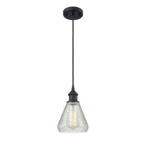 Conesus Matte Black One-Light Mini Pendant with Clear Crackle Glass