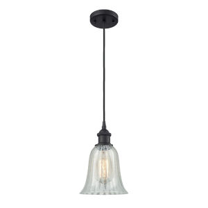 Hanover Matte Black One-Light Mini Pendant with Mouchette Glass