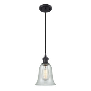 Hanover Matte Black One-Light Mini Pendant with Fishnet Glass
