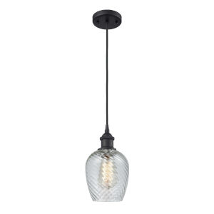 Ballston Matte Black Five-Inch One-Light Mini Pendant with Clear Spiral Fluted Glass Shade