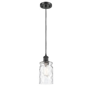 Ballston Matte Black Five-Inch One-Light Mini Pendant with Clear Waterglass Glass Shade