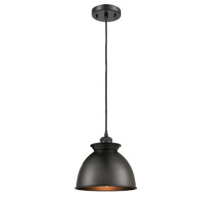 Ballston Matte Black Eight-Inch LED Mini Pendant with Matte Black Metal Shadeand Brown Cord