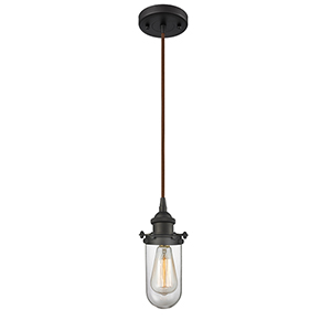 Kingsbury Oiled Rubbed Bronze LED Mini Pendant with Clear Globe Glass