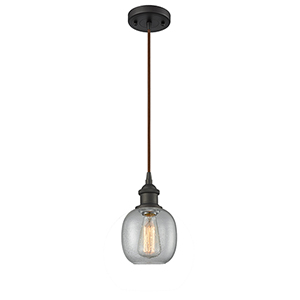 Belfast Oiled Rubbed Bronze LED Mini Pendant with Clear Seedy Sphere Glass