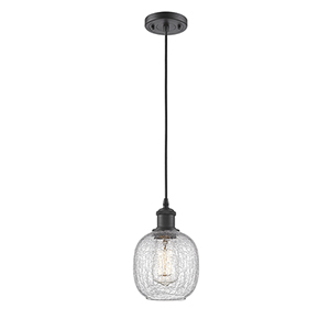 Belfast Oiled Rubbed Bronze One-Light Mini Pendant with Clear Crackle Sphere Glass