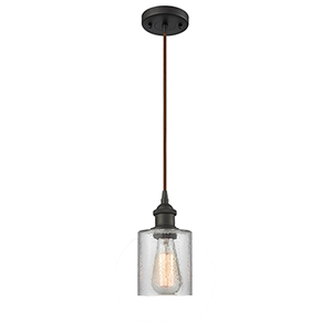 Cobbleskill Oiled Rubbed Bronze LED Mini Pendant with Clear Ripple Drum Glass