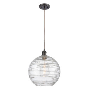 Ballston Oil Rubbed Bronze 12-Inch LED Pendant with Clear X-Large Deco Swirl Shade