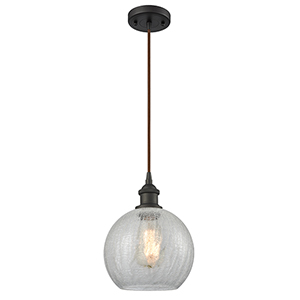 Athens Oiled Rubbed Bronze LED Mini Pendant with Clear Globe Sphere Glass