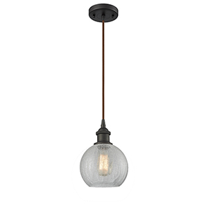 Athens Oiled Rubbed Bronze One-Light Mini Pendant with Clear Crackle Globe Sphere Glass