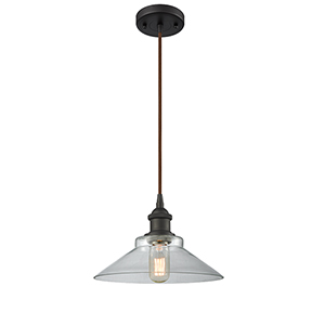 Disc Oiled Rubbed Bronze LED Pendant with Clear Cone Glass