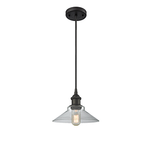 Disc Oiled Rubbed Bronze One-Light Pendant with Clear Cone Glass