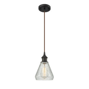 Conesus Oil Rubbed Bronze One-Light Mini Pendant with Clear Crackle Glass