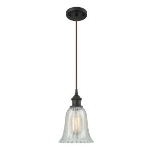Hanover Oil Rubbed Bronze One-Light Mini Pendant with Mouchette Glass