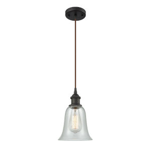 Hanover Oil Rubbed Bronze One-Light Mini Pendant with Fishnet Glass