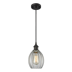 Eaton Oiled Rubbed Bronze LED Mini Pendant with Clear Fluted Sphere Glass