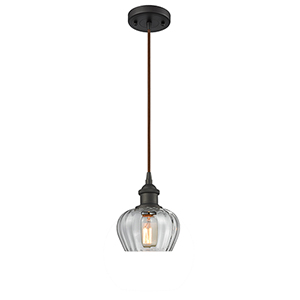Fenton Oiled Rubbed Bronze One-Light Mini Pendant with Clear Fluted Sphere Glass