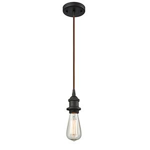 Bare Bulb Oiled Rubbed Bronze LED Mini Pendant