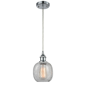 Belfast Polished Chrome LED Mini Pendant with Clear Crackle Sphere Glass