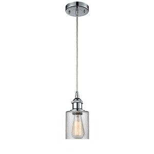 Cobbleskill Polished Chrome LED Mini Pendant with Clear Ripple Drum Glass