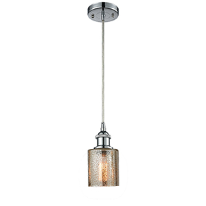 Cobbleskill Polished Chrome One-Light Mini Pendant with Mercury Drum Glass