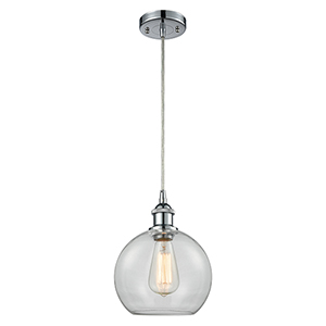 Athens Polished Chrome One-Light Mini Pendant with Clear Globe Sphere Glass