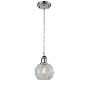 Athens Polished Chrome One-Light Mini Pendant with Clear Crackle Globe Sphere Glass