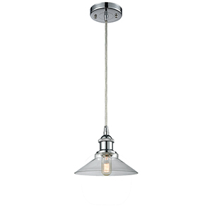 Disc Polished Chrome One-Light Pendant with Clear Cone Glass